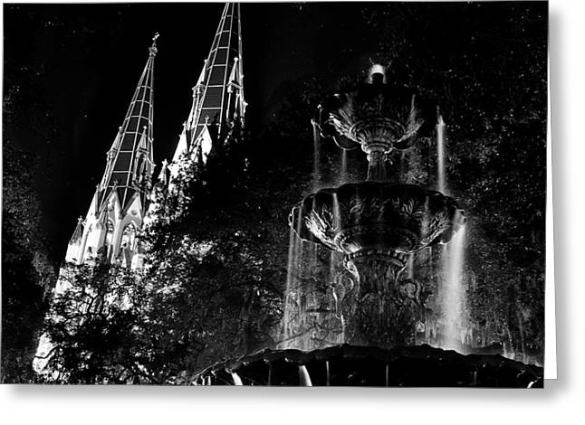 Fountain And Spires Greeting Card