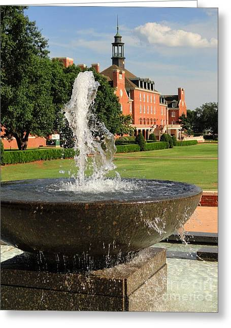 Student Union Photographs Greeting Cards - Fountain and Union Greeting Card by Meandering Photography