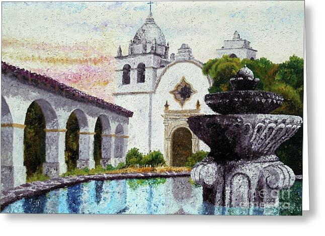 Fountain At Carmel Greeting Card by Laura Iverson