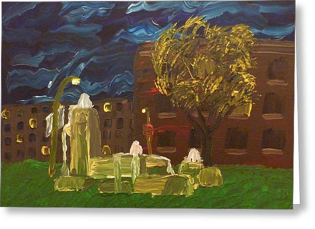 Fountain At Night Greeting Card by Joshua Redman