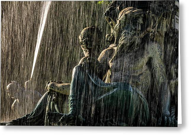 Fountain At Rossio Square Greeting Card
