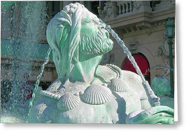 Fountain Blue Greeting Card by Randy Rosenberger