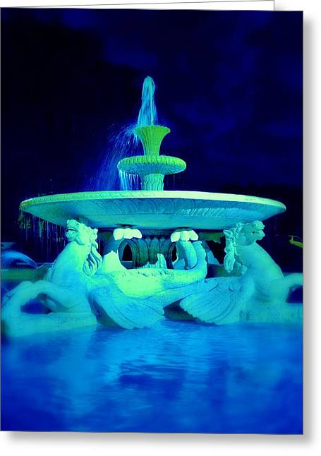 Fountain In Blue Greeting Card by Marla McPherson