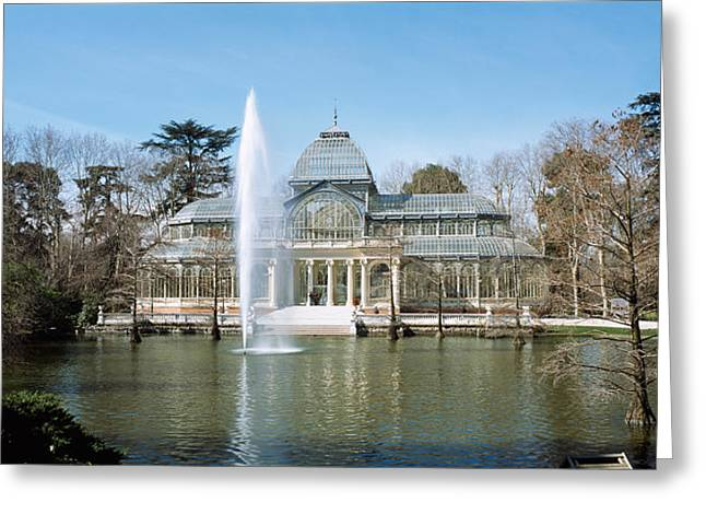 Fountain In Front Of A Palace, Palacio Greeting Card by Panoramic Images
