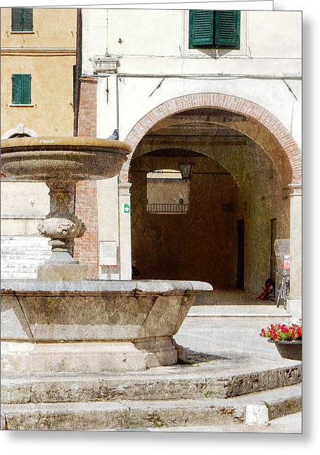 Fountain In The Main Square Cetona Greeting Card