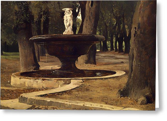 Fountain In The Park Of Villa Borghese In Rome Greeting Card