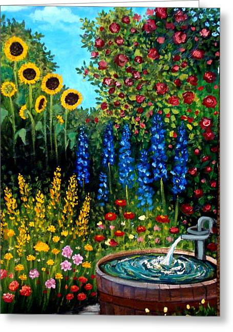 Fountain Of Flowers Greeting Card