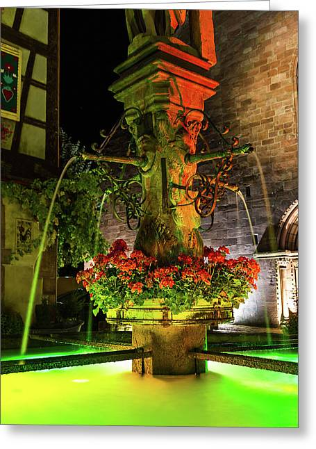 Fountain Of Kaysersberg By Night Greeting Card