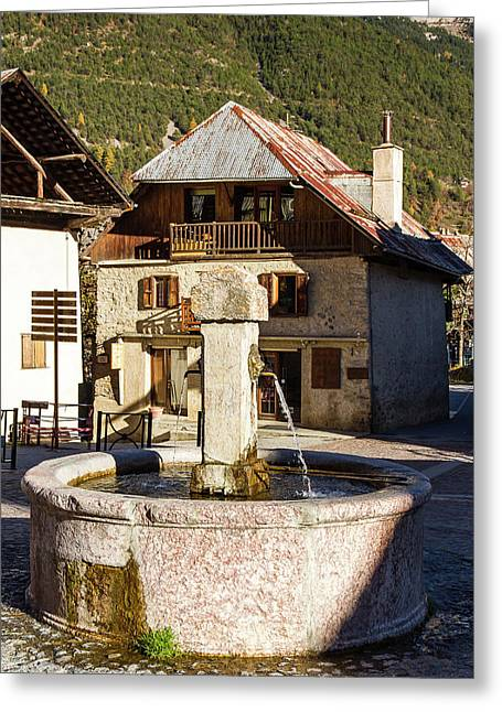 Fountain Of Vallouise - French Alps Greeting Card