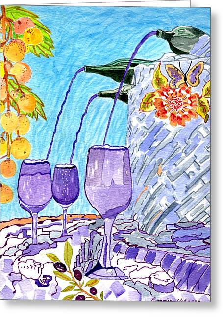Fountain Of Wine And Lifes Calming Drink Greeting Card
