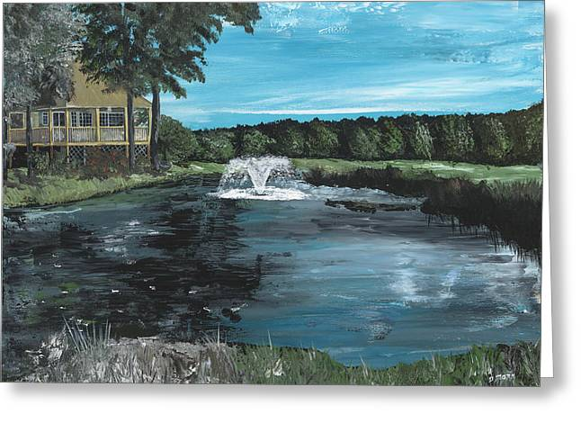 Fountain On The River Hills 17th Green Greeting Card by Donna Mann