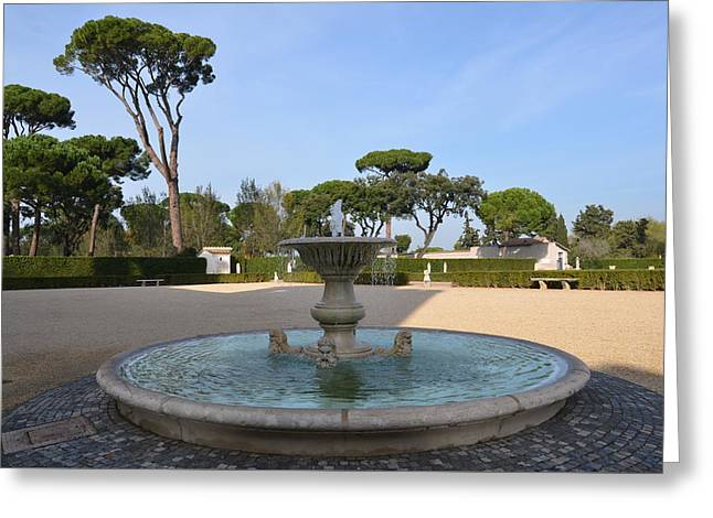 Fountain Overlooking The Gardens Greeting Card by Tammy Mutka