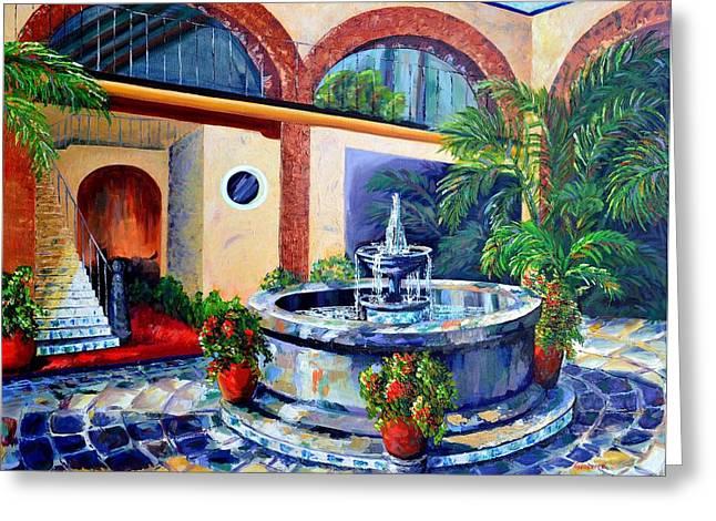 Fountain Patio Greeting Card by Cristina Gosserez
