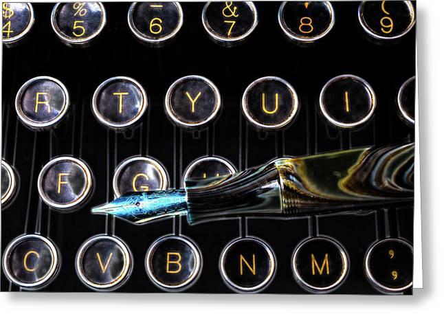 Fountain Pen On Typewriter Keys Greeting Card