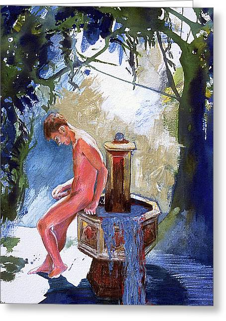 Fountain Greeting Card by Rene Capone