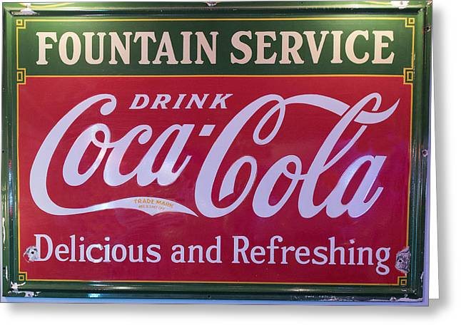 Fountain Service - Coke Greeting Card by Jon Berghoff