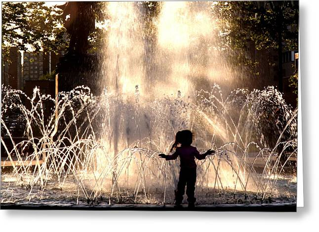 Fountain Silhouette Greeting Card by Russell Styles