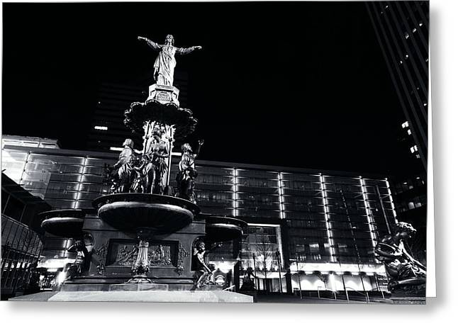 Fountain Square Bw Greeting Card