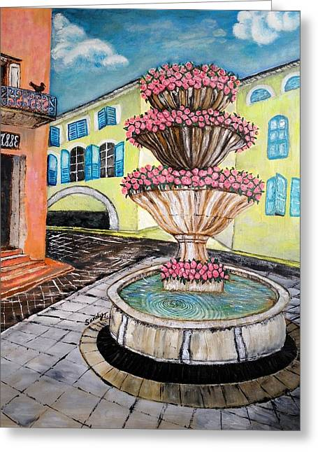 Fountain Square In Grasse, Southern France Greeting Card by Jo lan Tao