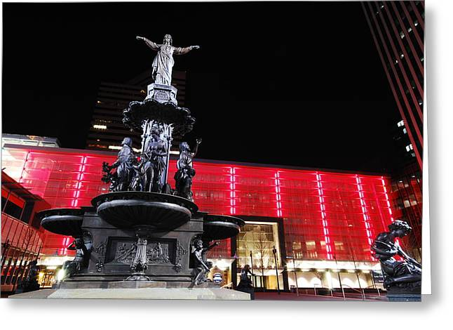 Fountain Square Greeting Card by Russell Todd
