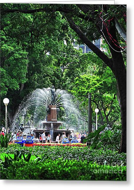 Greeting Card featuring the photograph Fountain Through The Trees By Kaye Menner by Kaye Menner