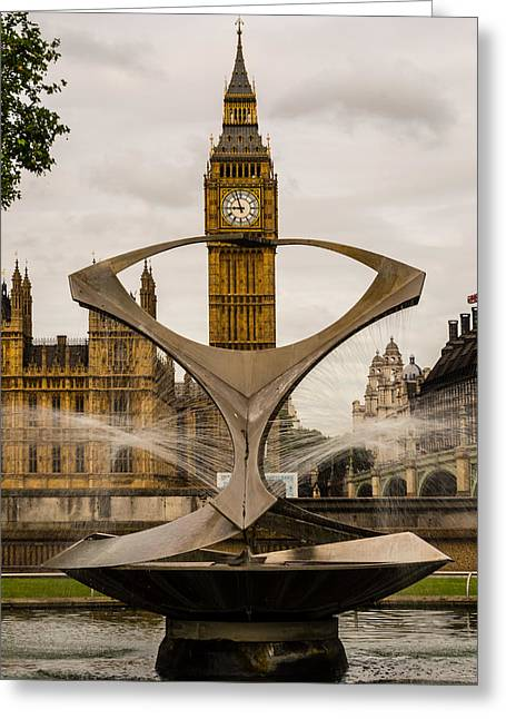Fountain With Big Ben Greeting Card