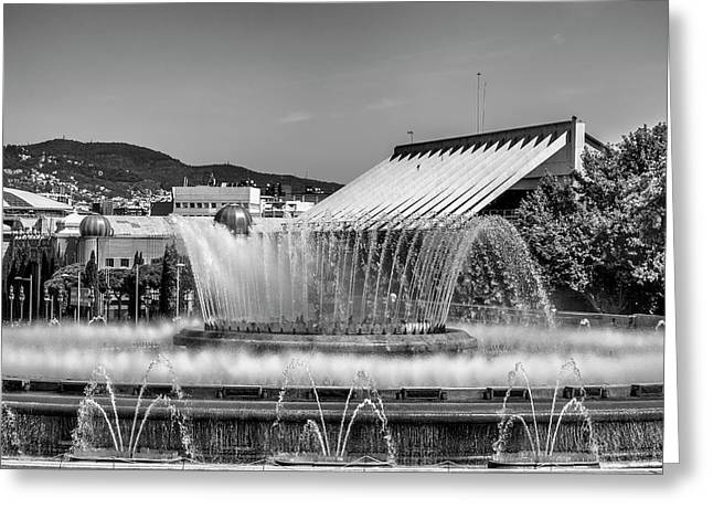 Fountains Landscape In Mono Greeting Card by Georgia Fowler