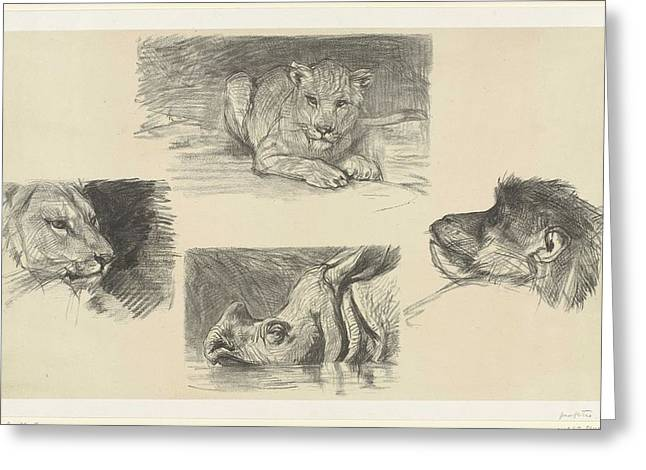 Four Animals, August Allebe, 1848 - 1927 Greeting Card