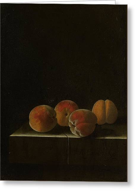 Four Apricots On A Stone Plinth Greeting Card