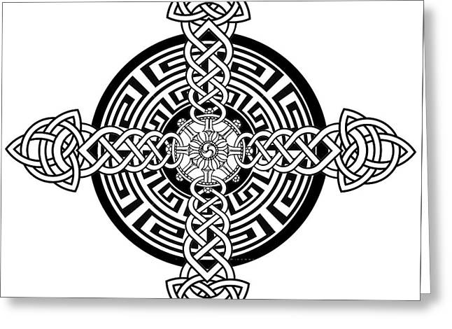 Four Armed Celtic Cross Greeting Card by Stephen Humphries
