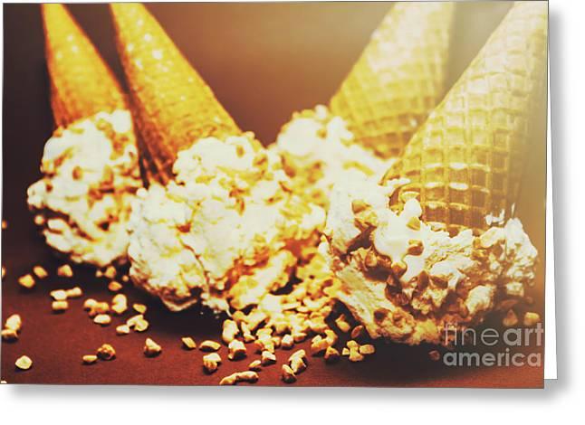 Four Artistic Ice-cream Cones Greeting Card