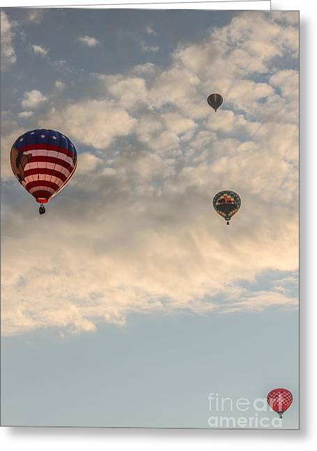 Four Balloons In The Sky Greeting Card by Victory  Designs