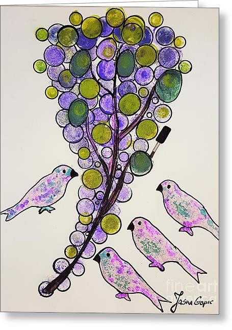 Four Birds And Grapes Greeting Card by Jasna Gopic
