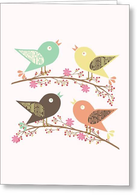 Four Birds Greeting Card