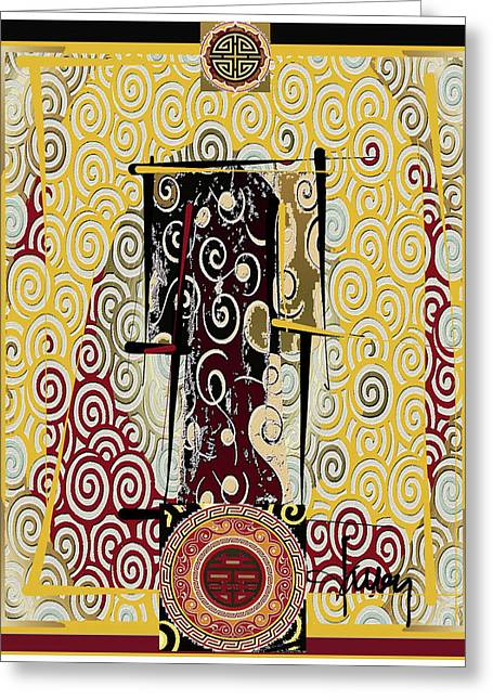 Greeting Card featuring the mixed media Four Blessings Double Happiness Japanese Kimono by Larry Talley
