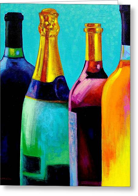 Four Bottles Greeting Card by John  Nolan