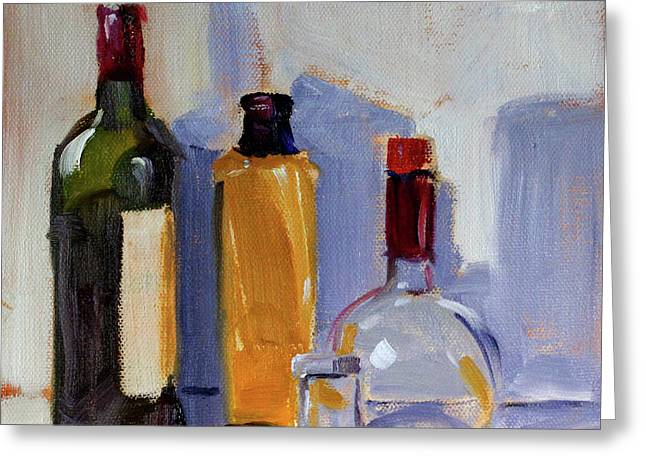 Greeting Card featuring the painting Four Bottles by Nancy Merkle