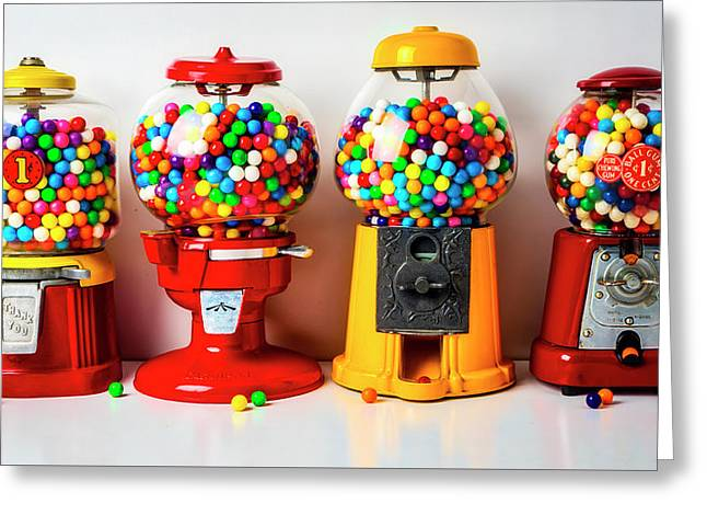 Four Bubblegum Machines Greeting Card
