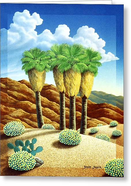 Four Bunch Palms Greeting Card by Snake Jagger