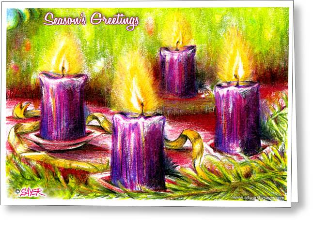 Pine Needles Drawings Greeting Cards - Four Candles Greeting Card by James Sayer
