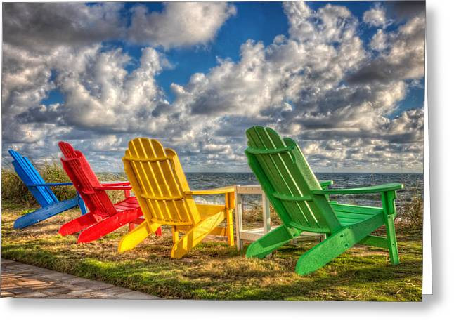 Four Chairs At The Beach Greeting Card