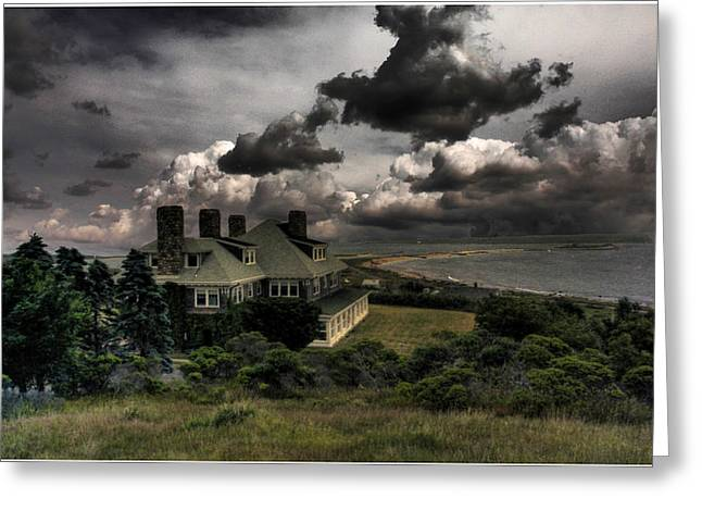 Four Chimneys In A Cuttyhunk Storm Greeting Card
