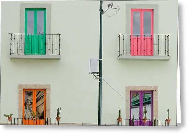 Four Coloured Doors. Greeting Card by Rob Huntley