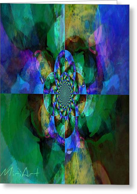 Four Corners In Cool Greeting Card by Miriam Shaw