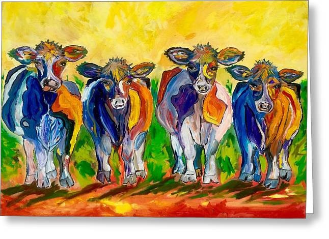 Four Cows Greeting Card