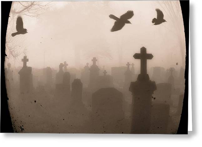 Four Crows Fly Through The Dark And Foggy Cemetery Greeting Card