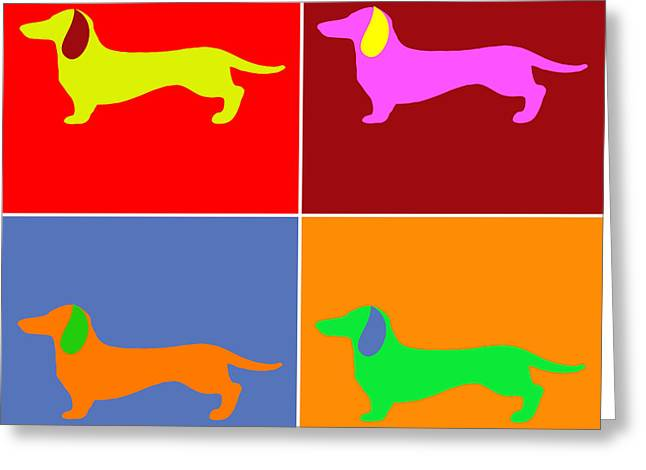 Four Dachshunds Greeting Card