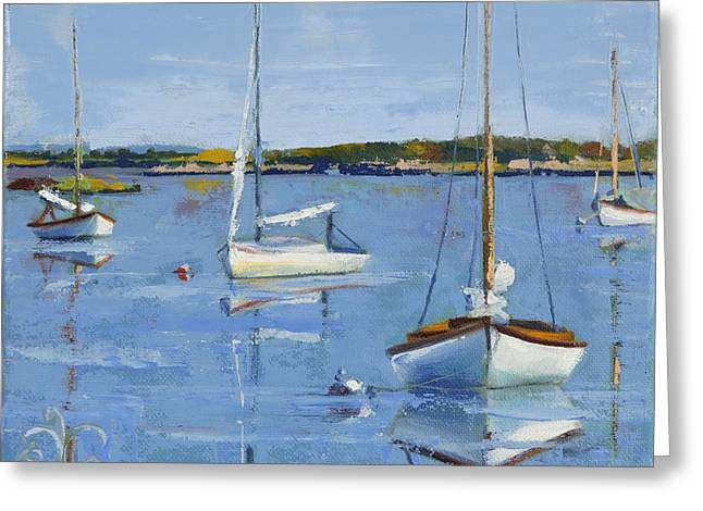 Four Daysailers Greeting Card by Trina Teele