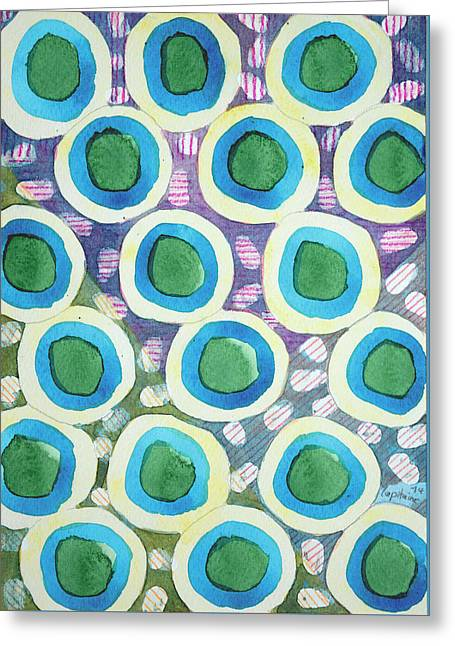 Four Directions Dot Pattern Greeting Card by Heidi Capitaine