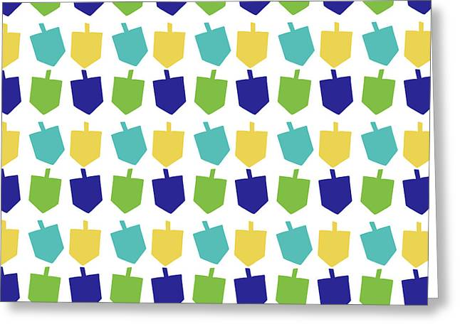 Four Dreidels Pattern- Art By Linda Woods Greeting Card by Linda Woods